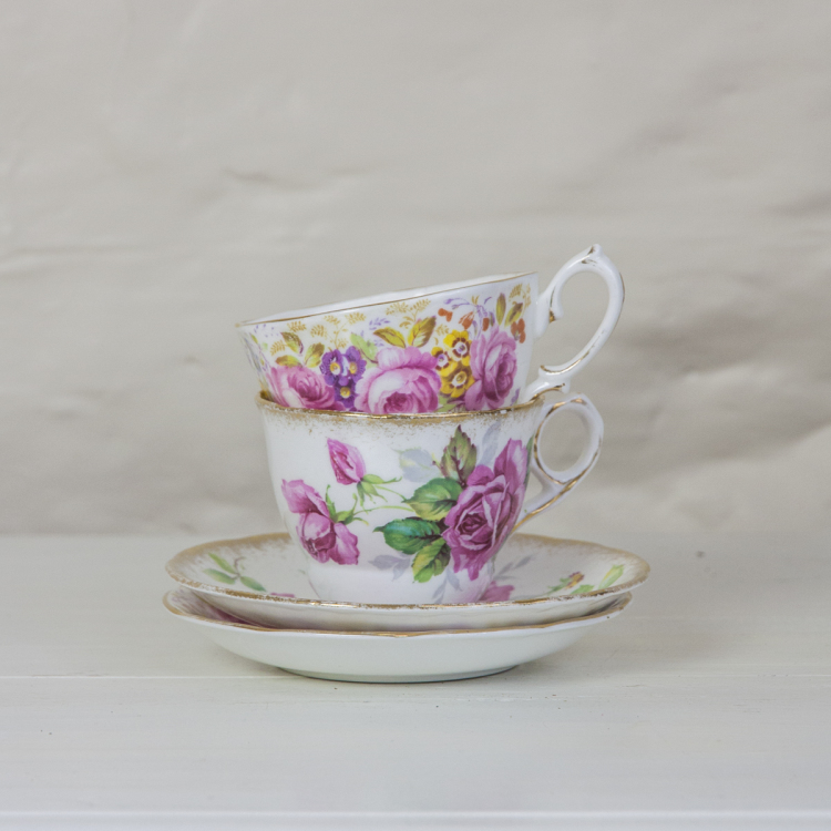 vintage rose tea cups hire - Style my day - Wedding and Event - Hire and styling