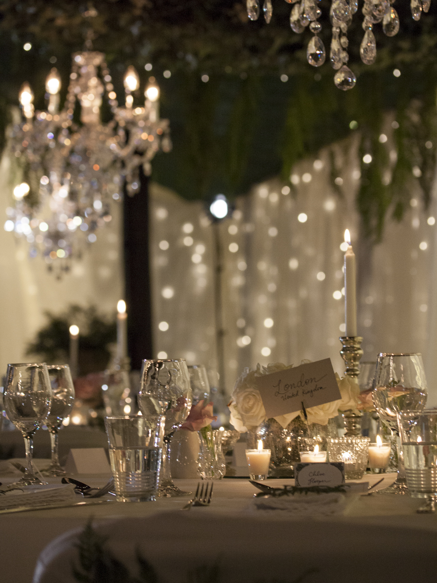 Style my day - Wedding reception - Indoor rainforest - Romantic Lighting Mercury glass, centrepieces, mirrors,