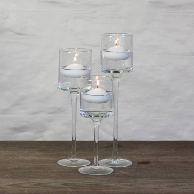 stemmed glass votives