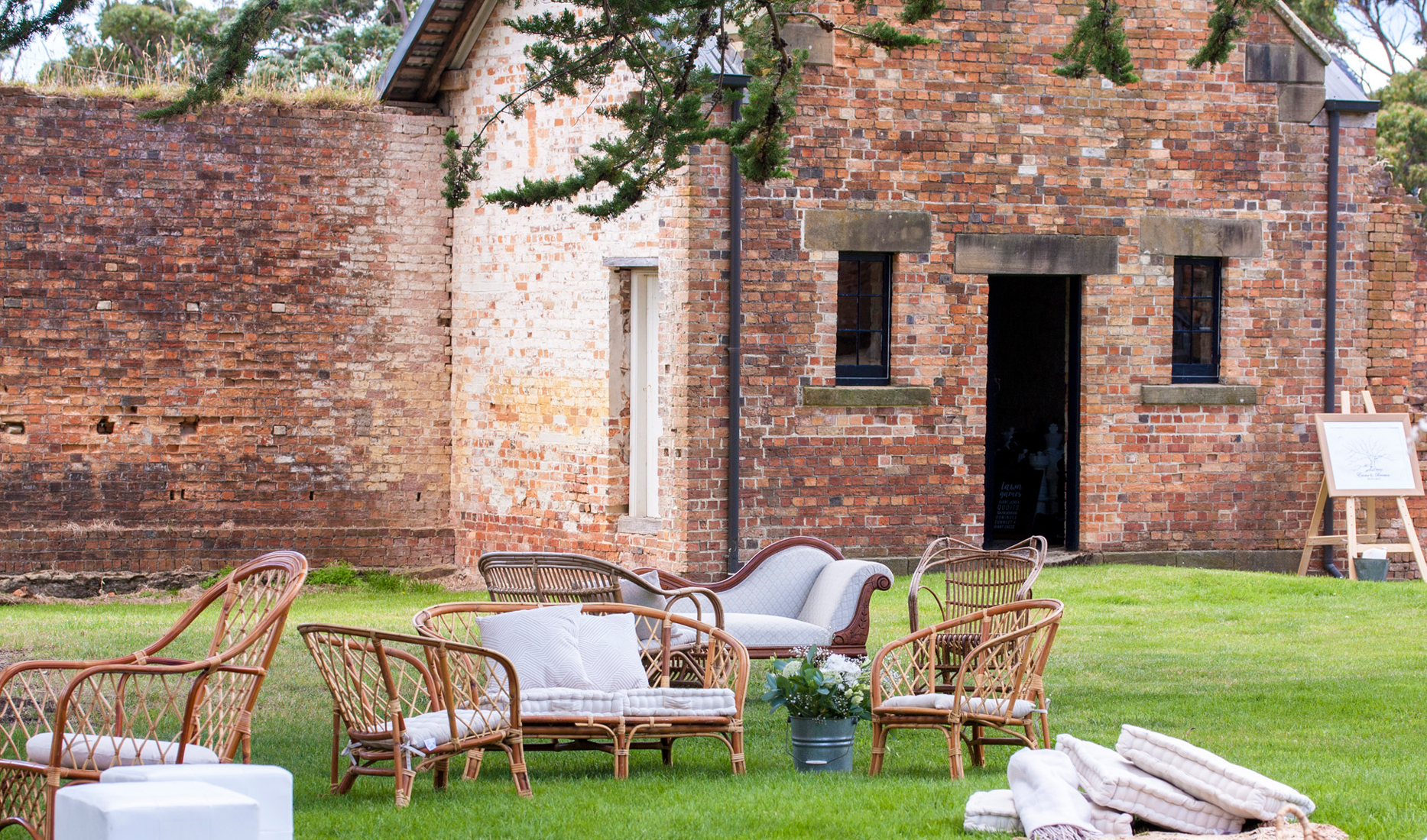 Chill zone _ Cane furniture _Port Arthur _ The Old Farm _ Wedding Styling