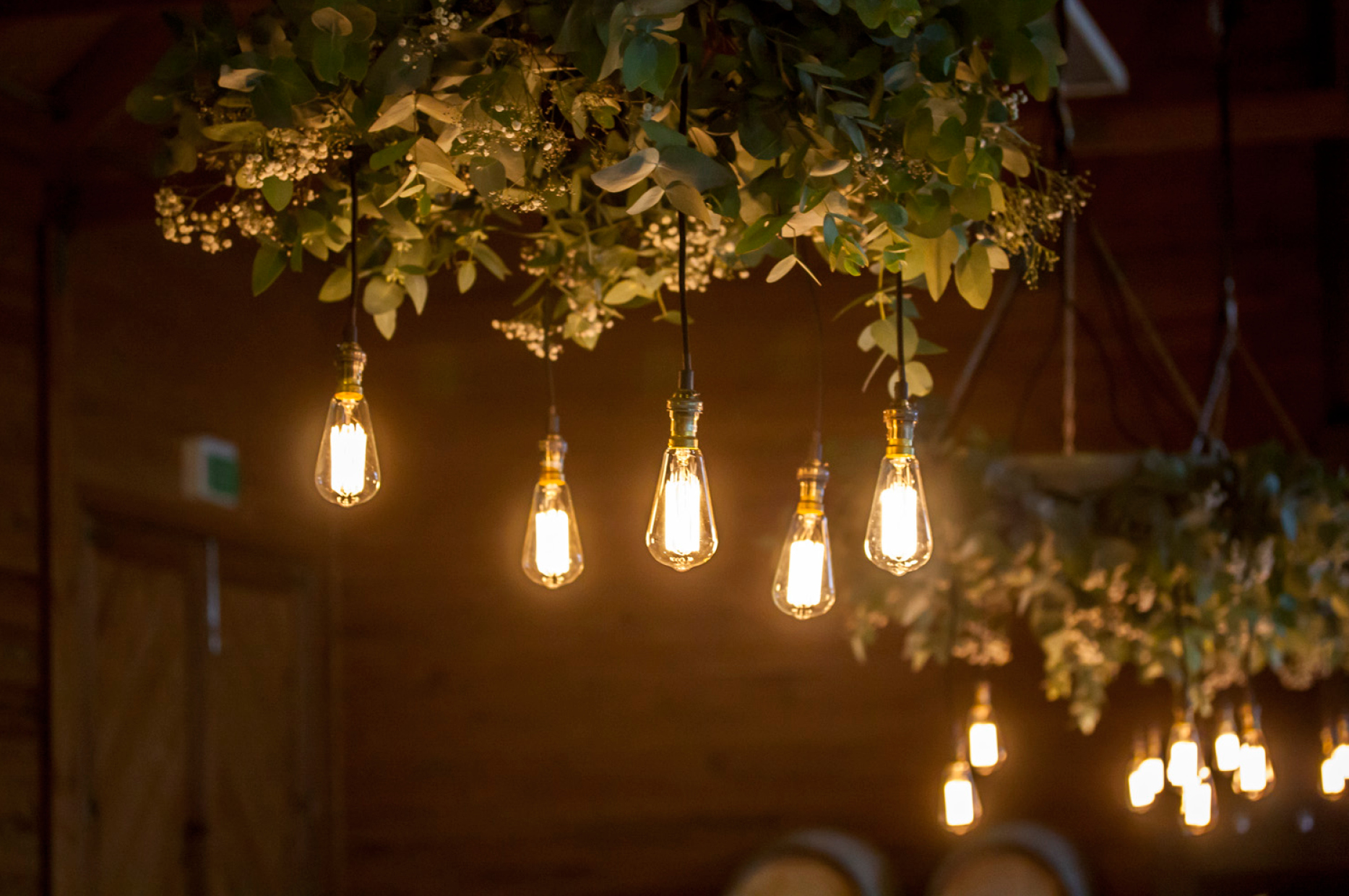 Frogmore Creek Styled wedding rustic warm gold winter wedding edison bulbs wine barrel rings