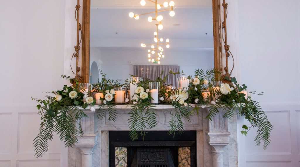 Rydges Hobart wedding styled reception mantlepiece bridal table