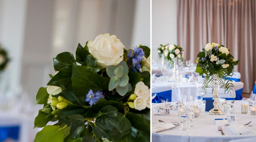 Rydges Hobart wedding styled reception centrepiece blue and white