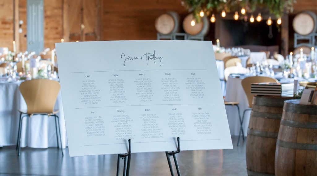 Frogmore Creek winery reception venue wedding styled