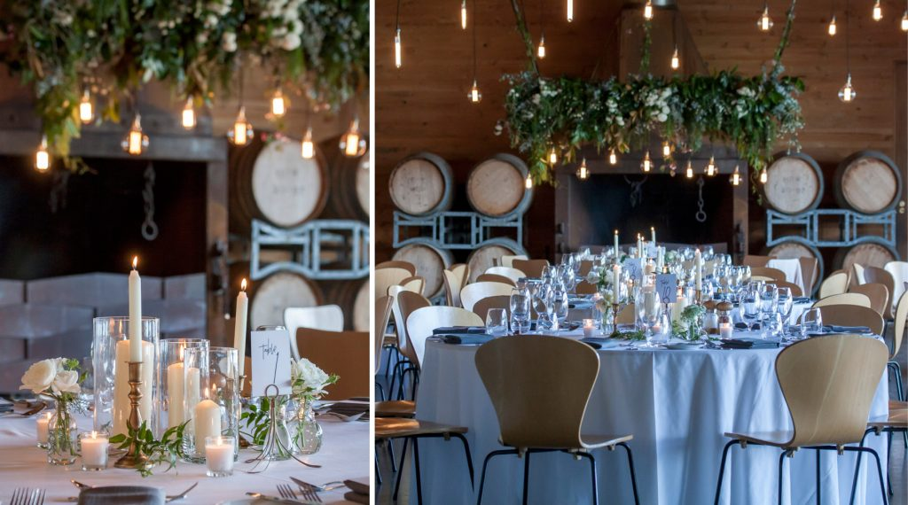Frogmore Creek winery reception venue wedding styled candlelight white flowers centrepieces