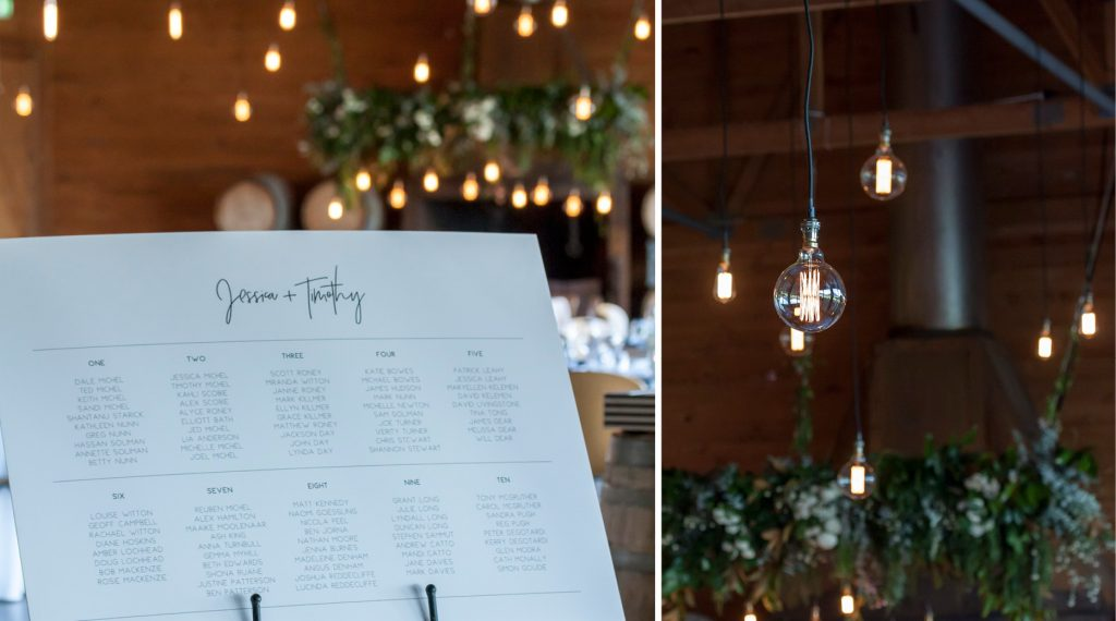 Frogmore Creek winery reception venue wedding styled candlelight white flowers centrepieces Edison globes